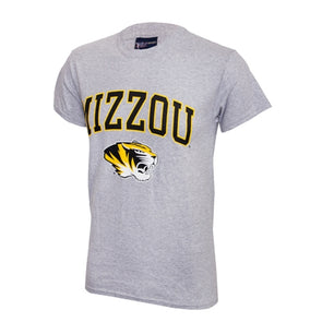 Mizzou Tiger Head Grey Short Sleeve Crew Neck T-Shirt