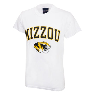 Mizzou Tiger Head White Short Sleeve Crew Neck T-Shirt