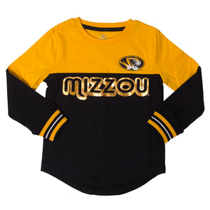 Mizzou Toddler Oval Tiger Head Black & Gold Shirt