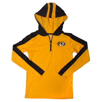 Mizzou Kids' Oval Tiger Head 1/4 Zip Black & Gold Hooded Shirt