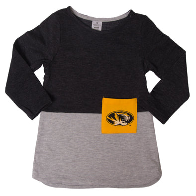 Mizzou Toddler Oval Tiger Head Grey Dress