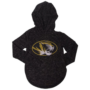 Mizzou Kids' Oval Tiger Head Black Hooded Shirt
