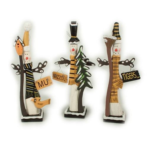 Mizzou Black & Gold Assorted Wooden Snowman