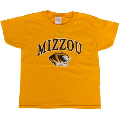 Mizzou Kids' Tiger Head Gold Short Sleeve Crew Neck T-Shirt