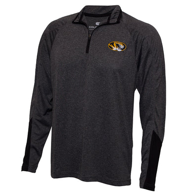Mizzou Oval Tiger Head Charcoal 1/4 Zip Athletic Shirt