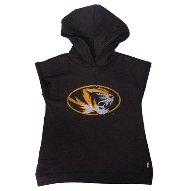Mizzou Kids' Oval Tiger Head Black Sleeveless Hoodie