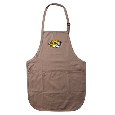 Mizzou Oval Tiger Head Brown Apron