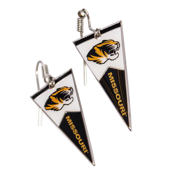 Mizzou Triangle Flag Tiger Head Earrings