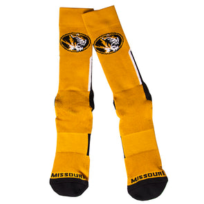 Mizzou Oval Tiger Head Sport Performance Gold Tube Socks