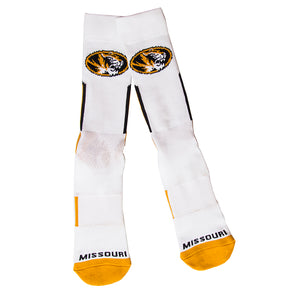 Mizzou Oval Tiger Head Sport Performance White Tube Socks