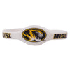"Missouri Oval Tiger Head Logo 8"" Silicone White Bracelet"