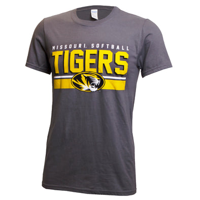 Missouri Softball Tigers Grey Crew Neck T-Shirt