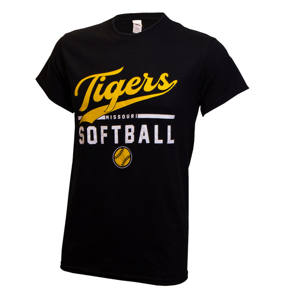 Tigers Missouri Softball Black Crew Neck T-Shirt