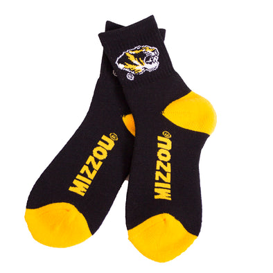 Mizzou Tiger Head Black and Gold Ankle Socks
