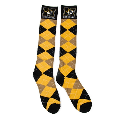 Mizzou Tiger Head Black & Gold Argyle Socks