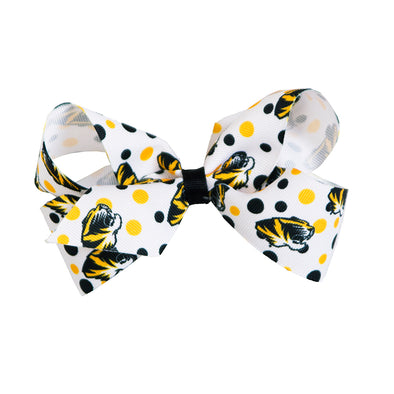 Mizzou Tiger Head White Polka Dot Bow