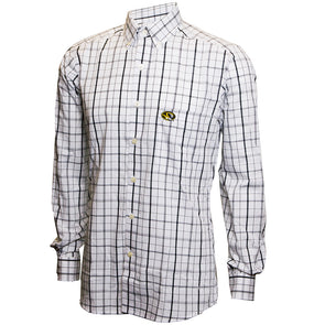 Mizzou Oval Tiger Head Black and White Button Down Dress Shirt