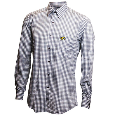 Mizzou Oval Tiger Head Black an White Plaid Dress Shirt