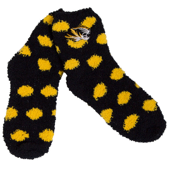 Mizzou Tiger Head Black Polka Dot Fuzzy Socks