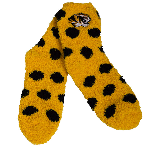 Mizzou Tiger Head Gold Polka Dot Fuzzy Socks