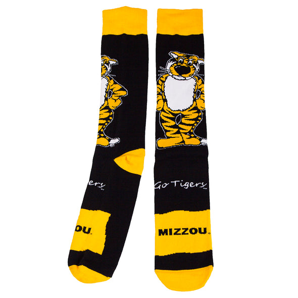 Mizzou Go Tigers Truman Tiger Black and Gold Calf Length Socks
