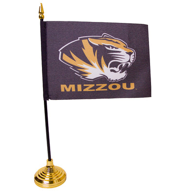Mizzou Tiger Head Black Desk Flag