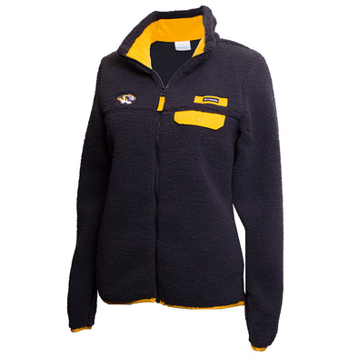 Mizzou Tiger Head Women's Black with Gold Fleece Full Zip Jacket