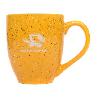 Mizzou Etched Tiger Gold Bistro Speckled Mug