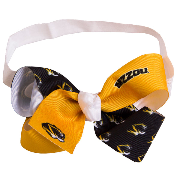 Mizzou Tiger Head Black and Gold Infant Headband Bow