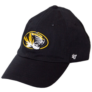 Mizzou Oval Tiger Head Black Adjustable Hat