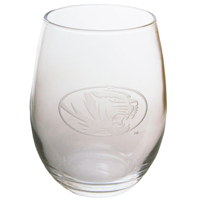 Mizzou Oval Tiger Head Etched Glass Stemless Wine Glass