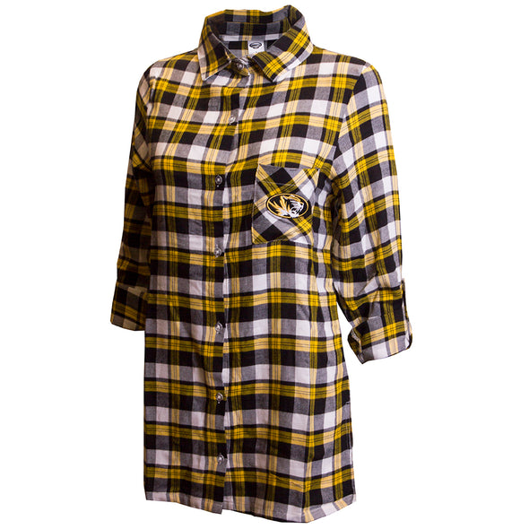 Mizzou Oval Tiger Head Black and Gold Plaid Flannel Button Down Shirt