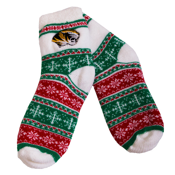 Mizzou Tiger Head Green and Red Patterned Fuzzy Socks