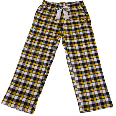 Mizzou Oval Tiger Head Black and Gold Flannel Lounge Pants