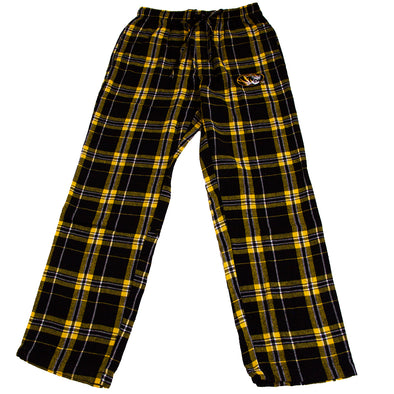 Mizzou Oval Tiger Head Black and Gold Flannel Pants