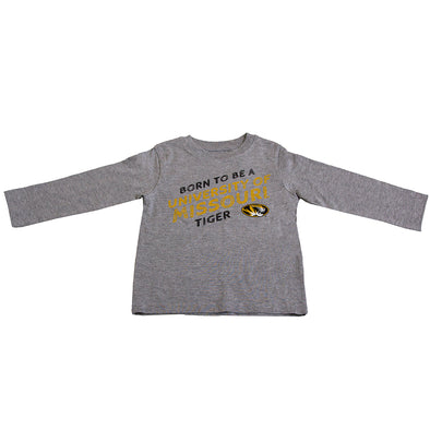 University Of Missouri Born To Be a Tiger Oval Tiger Head Grey Toddler Crew Neck Shirt