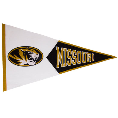 Missouri Oval Tiger Head Black and Old Gold Pennant