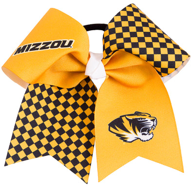 Mizzou Tiger Head Checkered Gold Hair Bow