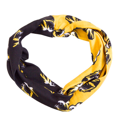 Mizzou Tiger Head Black and Gold Head Band