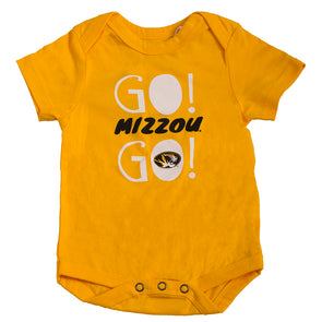 Mizzou Oval Tiger Head Go! Mizzou Go! Infant Gold Onesie