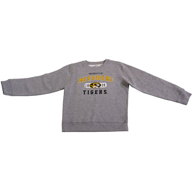 University of Missouri Tigers Oval Tiger Head 1839 Grey Crew Neck Youth Sweatshirt
