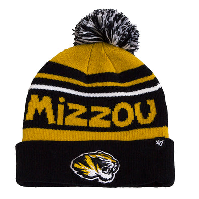 Mizzou Tiger Head Youth Black and Gold Pom Beanie