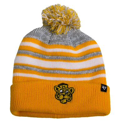 Mizzou Beanie Tiger Logo Youth Gold and White Pom Beanie
