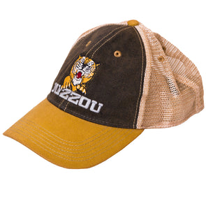 Mizzou Pouncing Tiger Brown and Gold Trucker Hat
