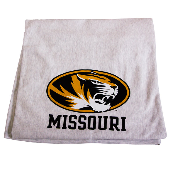 Missouri Oval Tiger Head Light Grey Sweatshirt Blanket