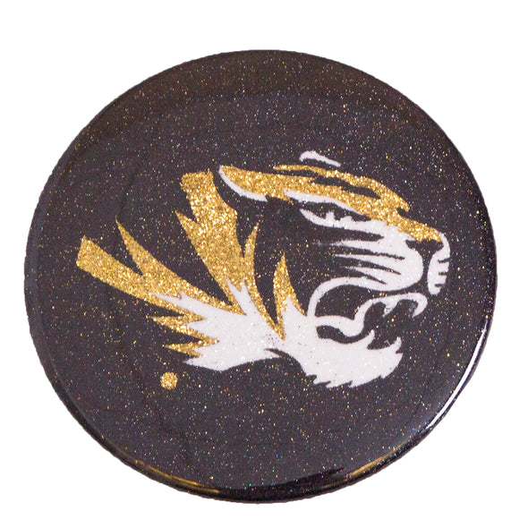 Mizzou Tiger Head Glitter Button Magnet