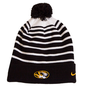 Mizzou Oval Tiger Head Nike® Cuffed Pom Black and White Stripe Beanie