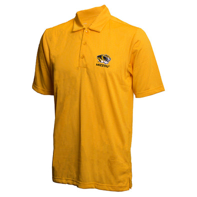 Mizzou Tiger Head Gold and White Stripe Polo