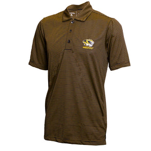 Mizzou Tiger Head Gold and Black Stripe Polo