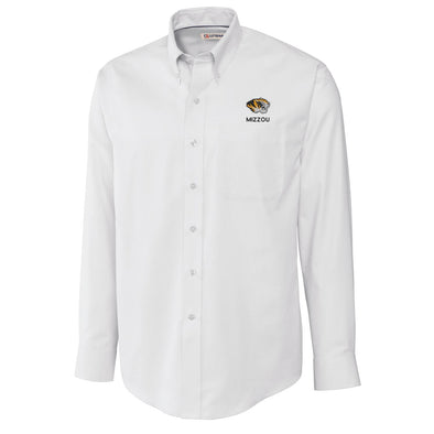 Mizzou Tiger Head Wrinkle Resistant White Buttoned Down Shirt
